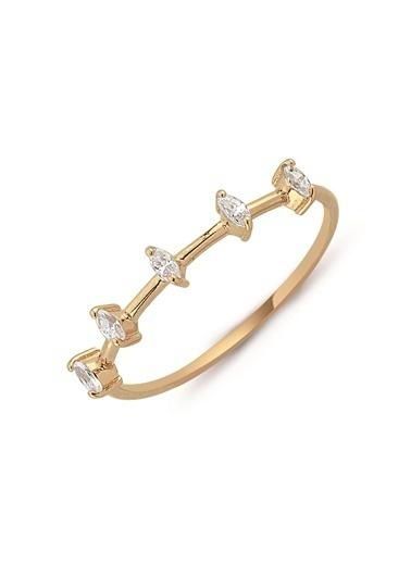 Piano Jewellery Kristal Taşlı Sıra Mini Markiz Altın Yüzük 14 Ayar Pembe